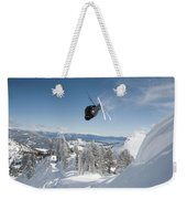 A Skier Doing A Front Flip Into Powder Weekender Tote Bag