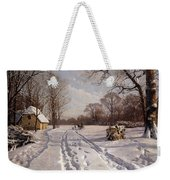 A Sleigh Ride Through A Winter Landscape Weekender Tote Bag by Peder Monsted