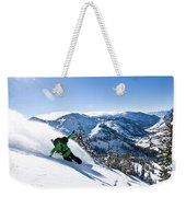 A Snowboarder Making Some Fresh Tracks Weekender Tote Bag