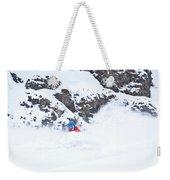 A Snowboarder Riding Through Powder Weekender Tote Bag