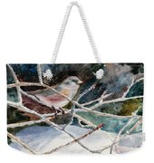 A Snowy Perch Weekender Tote Bag