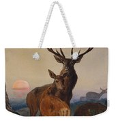 A Stag With Deer In A Wooded Landscape At Sunset Weekender Tote Bag
