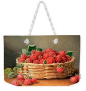 A Still Life Of Raspberries In A Wicker Basket  Weekender Tote Bag