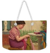 A Stitch Is Free Or A Stitch In Time 1917 Weekender Tote Bag by John William Godward