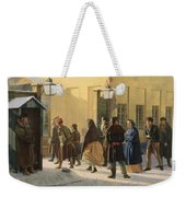 A Street Scene, Outside A Prison, 1868 Oil On Canvas Weekender Tote Bag