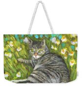 A Striped Cat On Floral Carpet Weekender Tote Bag