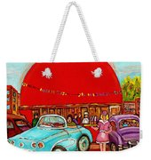 A Sunny Day At The Big Oj- Paintings Of Orange Julep-server On Roller Blades-carole Spandau Weekender Tote Bag