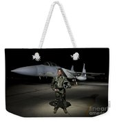 A U.s. Air Force Pilot Stands In Front Weekender Tote Bag