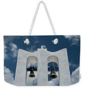 A Whitewashed Bell Tower And Dramatic Weekender Tote Bag