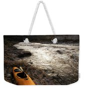 A Whitewater Kayak Rests On The Shore Weekender Tote Bag