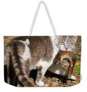 A Wild Cat Catching A Chipmunk Weekender Tote Bag