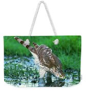 A Wild Juvenile Cooper's Hawk Drinks From A Pond Weekender Tote Bag