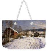 A Winter Landscape Lillehammer Weekender Tote Bag by Peder Monsted