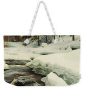 A Winter Landscape With A Mountain Torrent Weekender Tote Bag