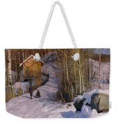 A Winter Landscape With Children Sledging Weekender Tote Bag