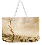 A Winter Landscape With Townsfolk Skating And Playing Kolf On A Frozen River Weekender Tote Bag by Aert van der Neer