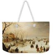 A Winter River Landscape With Figures On The Ice Weekender Tote Bag