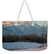 A Winter Scene Of A Snowy Field, Fence Weekender Tote Bag