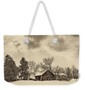 A Winter Sky Sepia Weekender Tote Bag