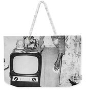 A Woman And Her Tv Weekender Tote Bag