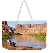A Woman Enjoys Morning Coffee At A Camp Weekender Tote Bag