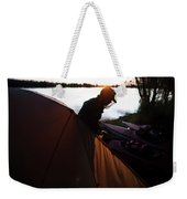 A Woman Exits The Tent At Sunset Weekender Tote Bag
