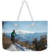 A Woman Fat Biking On The Trails Weekender Tote Bag