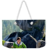 A Woman Hiking High In The Mountains Weekender Tote Bag