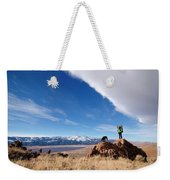 A Woman Hiking With Her Dog Weekender Tote Bag