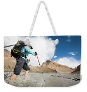 A Woman Is Crossing A River, Spiti Weekender Tote Bag