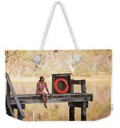 A Woman Is Sitting By A Lake, Mount Weekender Tote Bag