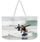 A Woman Learns To Surf Weekender Tote Bag