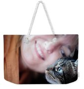 A Woman Lovingly Looking At Her Cat Weekender Tote Bag