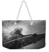 A Woman On A Surfboard Under The Water Weekender Tote Bag