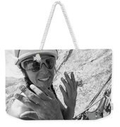 A Woman Rock Climber In Titcomb Basin Weekender Tote Bag