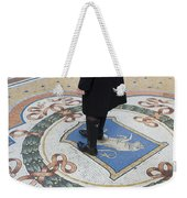 A Woman Rubs Her Heel For Good Luck On The Crest Of The Bull In Galleria Vittorio Emanuele II  Weekender Tote Bag