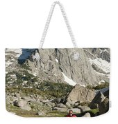 A Woman Trail Running In The Cirque Weekender Tote Bag
