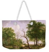 A Wooded River Landscape With Sportsmen In A Rowing Boat Weekender Tote Bag