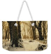 A Wooded Winter Landscape With Deer Weekender Tote Bag by Peder Monsted
