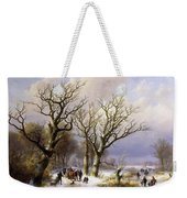 A Wooded Winter Landscape With Figures Weekender Tote Bag