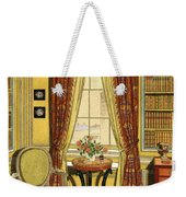 A Yellow Library With A Vase Of Flowers Weekender Tote Bag