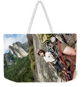 A Young Boy And Climbers In Yosemite Weekender Tote Bag