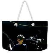 A Young Boy Fly Fishes At Gunpowder Weekender Tote Bag