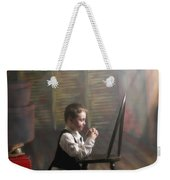 A Young Boy Praying With A Light Beam Weekender Tote Bag