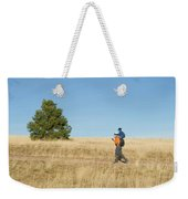 A Young Boy Rides On His Dads Shoulders Weekender Tote Bag