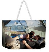 A Young Couple Camping Talk Weekender Tote Bag
