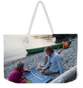 A Young Girl And Her Dad Enjoying Camp Weekender Tote Bag