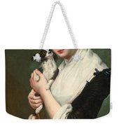 A Young Lady With Two Dogs Weekender Tote Bag
