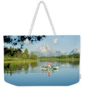A Young Man Fly Fishes From His Drift Weekender Tote Bag