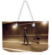 A Young Man On A Skateboard Is Pulled Weekender Tote Bag